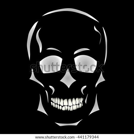 White skull on a black background. Hand drawn. Vector illustration. Isolated vector object.