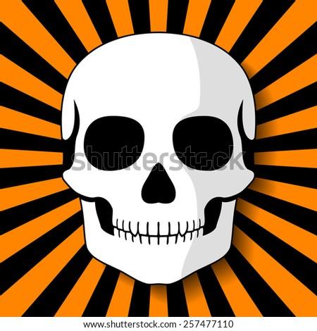 White skull on black orange beams. Vector illustration - stock vector