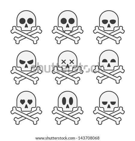 White skull set - stock vector