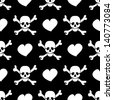 White skulls and hearts on black background - seamless pattern - stock vector