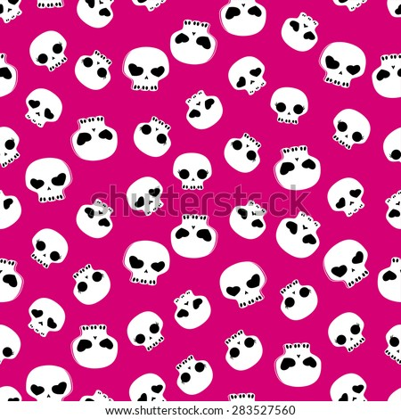 white skulls on pink background, seamless pattern  - stock vector