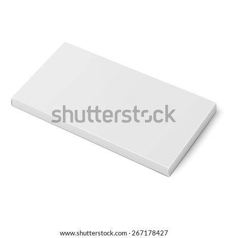 White slim cardboard box template for chocolate, crayons, pencils. Packaging collection. Vector illustration.