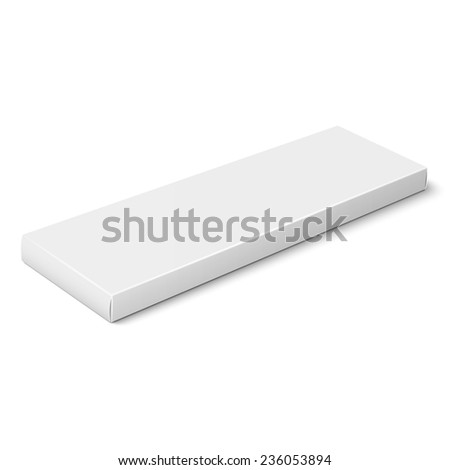 White slim paper or cardboard box template for chocolate, crayons, pens. Packaging collection. Vector illustration. - stock vector