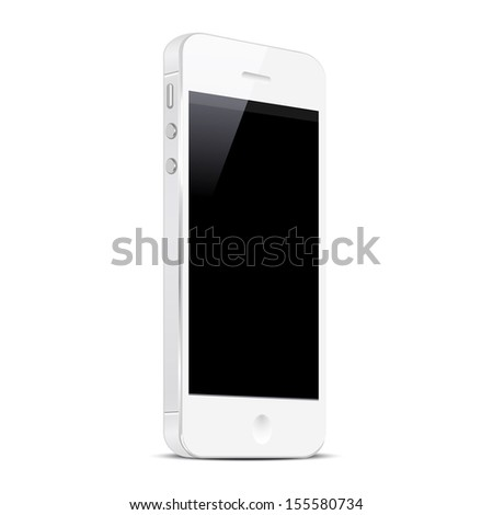 White Smart Phone isolated on white background. Vector EPS10 - stock vector