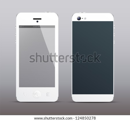 White smartphone concept front and back - stock vector