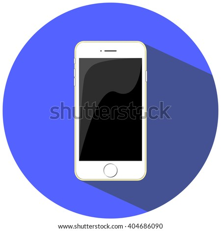 White smartphone flat vector illustration, isolated on blue. Smartphone icon in iphone style. Smartphone Vector. Realistic mobile phone. Smartphone  picture. Smartphone drawing. Smartphone Icon Image. - stock vector