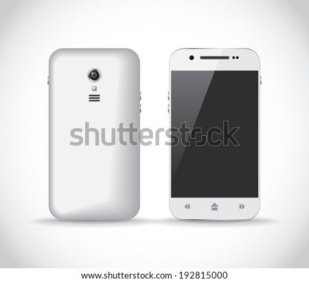 White smartphone from a front and back sides, illustration - stock vector