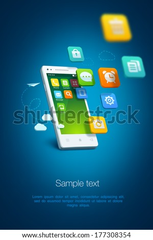 White smartphone with cloud of application icons on blue background - stock vector
