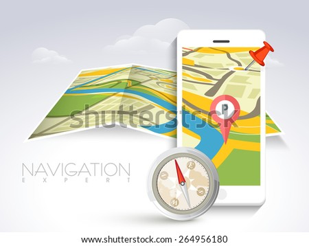 White smartphone with navigator map, paper folded pointer and compass on cloudy background. - stock vector