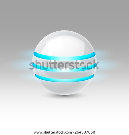 White smooth ball of the future with blue luminescent bands - stock vector