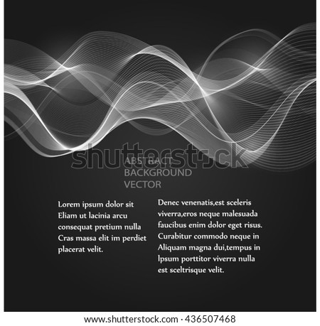 White smooth waves abstract background. The black Design brochure creative template