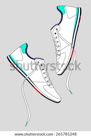 White sneakers with laces on a light gray background. vector - stock vector