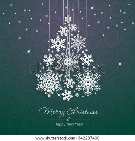 White snowflake Christmas tree on green background. Christmas vector card - stock vector