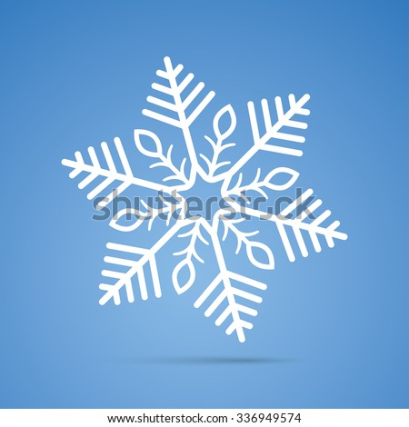 White snowflake on the blue background. Eps 10 vector file. - stock vector