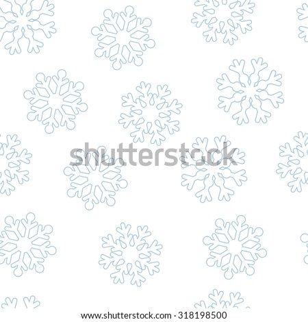 White snowflakes on a white background vector seamless pattern. Christmas background - stock vector