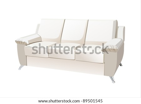 White sofa on white background. - stock vector