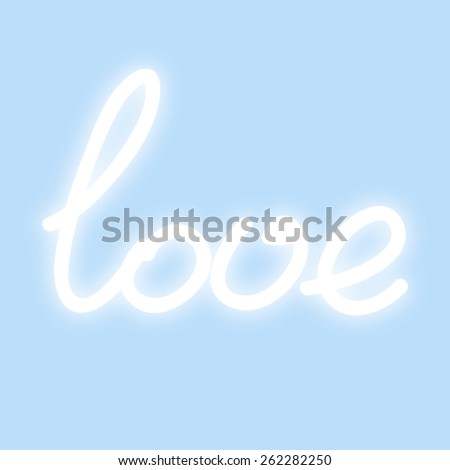 White soft glowing love inscription on blue background, hand written lettering. Vector illustration. - stock vector