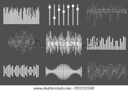 White sound music waves. Audio technology, visual musical pulse. Vector illustration. - stock vector