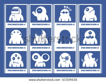 White space monsters hero - stock vector