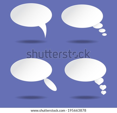 White speech bubble with shadow vector on blue background - stock vector