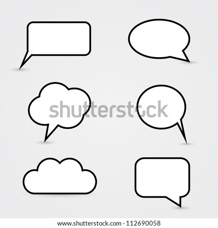 White Speech Bubbles - stock vector