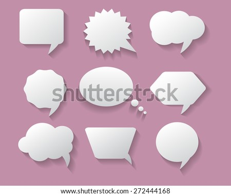 White speech bubbles.Speech bubbles set with shadow..Abstract vector illustration.
