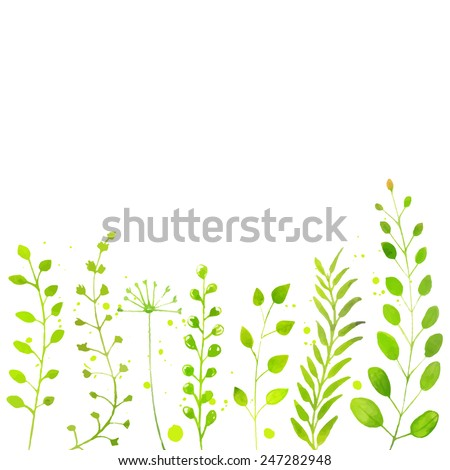 White spring background with hand painted watercolor green plants, twigs and flowers. Vector backdrop for seasonal sales, promo, announcements, etc. - stock vector
