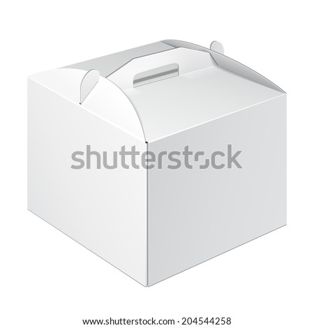 White Square Cardboard Cake Carry Box Packaging For Food, Gift Or Other Products. On White Background Isolated. Ready For Your Design. Product Packing Vector EPS10 - stock vector