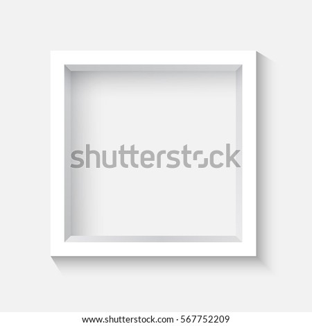 White Square 3 D Photo Frame On Stock Vector (Royalty Free ...