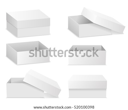 White square flat boxes isolated on white background. Open and closed box. Vector illustration