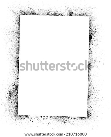White square frame with black ink blots. eps10 - stock vector