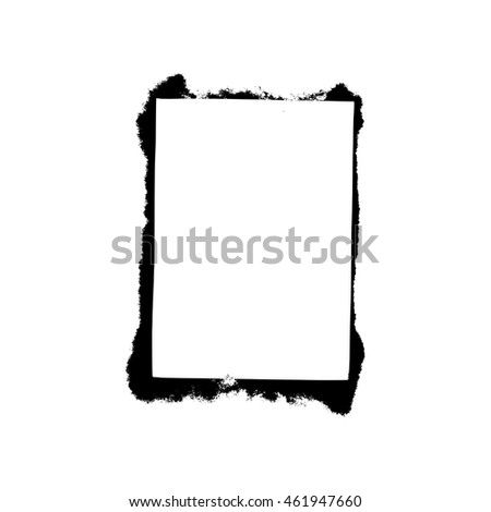 White square frame with black paint blots. Vector