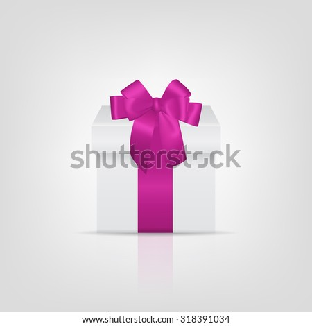 White square gift box with pink ribbon and bow. Vector EPS10 illustration.  - stock vector