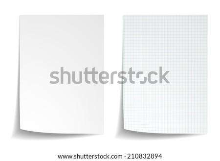 White squared notebook paper on white background - stock vector