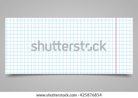 White squared paper sheet on a gray background - stock vector