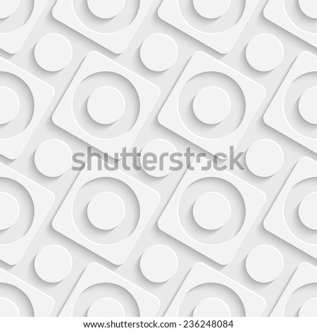 White Squares and Circles Pattern. Vector Seamless Background