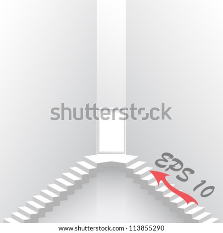 White staircase to open door. Stair vector illustration background
