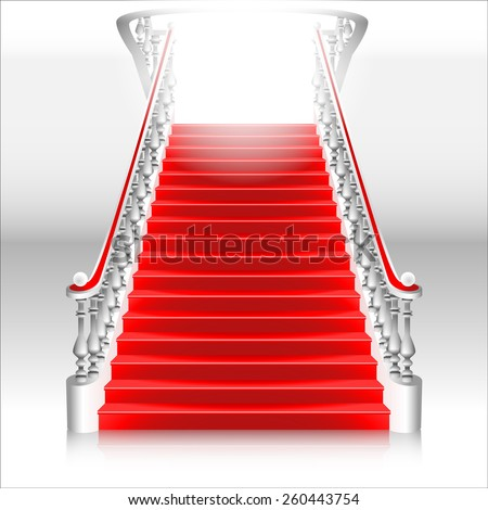 white staircase with red carpet - stock vector
