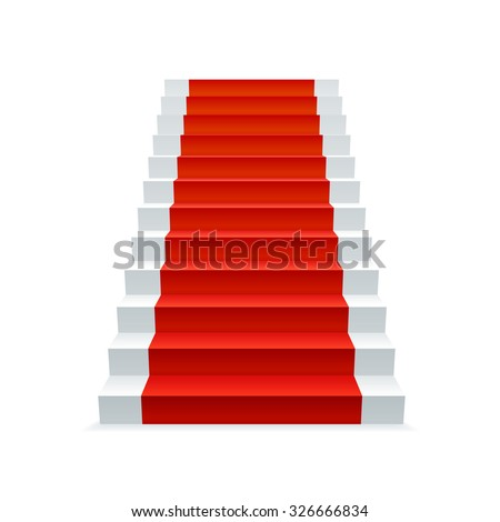 White stairway with red carpet, progress and success concept. Staircase vector illustration.  - stock vector