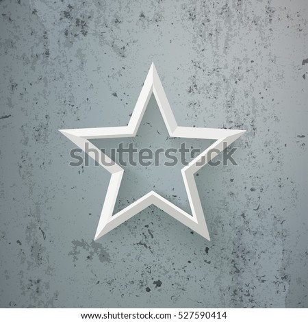 White star on the concrete background. Eps 10 vector file.