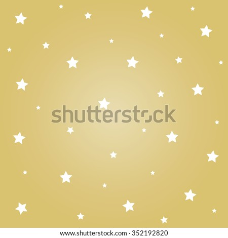 White stars with gold background for Christmas festival. - stock vector