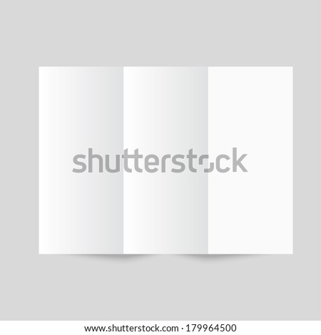 White stationery: blank trifold paper brochure on gray background. Cover for your design - stock vector