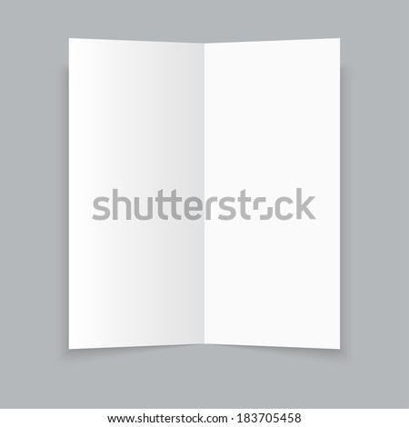 White stationery: blank twofold paper brochure on gray background. Cover for your design