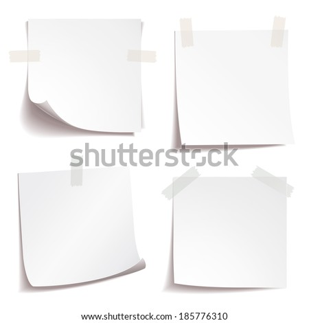White stick note paper on white background