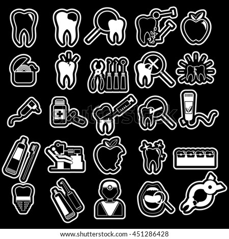 white sticker dentist icons set on blackboard in vector style