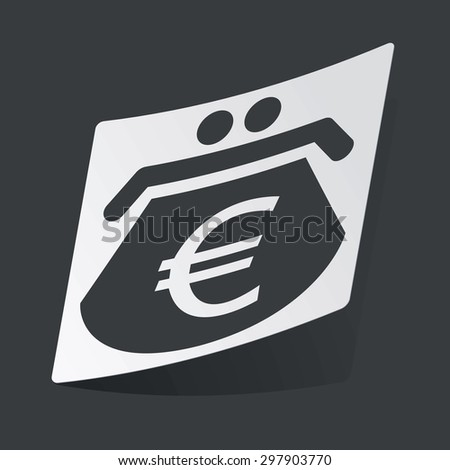 White sticker with black image of purse with euro symbol, on black background - stock vector