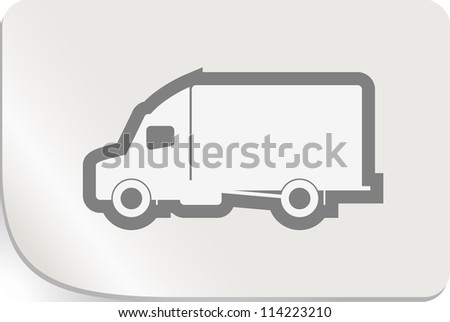 White sticker with delivery truck. Isolated on white Vector. - stock vector