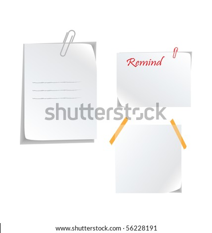 white stickers with paperclip - stock vector