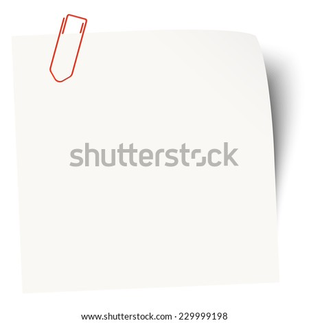 white sticky note with red paper clip