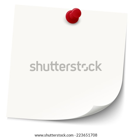 white sticky note with red pin needle - stock vector